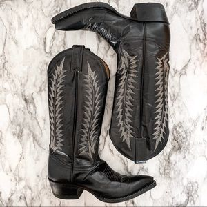 Tony Lama black leather embroidered cowboy boots